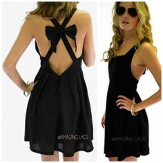 Deerfield Strappy Open Back Bow Dress   Amazing Lace