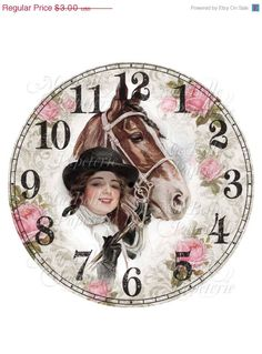 40% OFF SALE Shabby Chic Clock-DIY Clock Face with Vintage Image Of A Harrison Fisher Lady and Horse