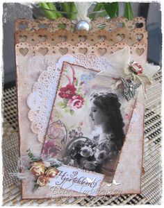 """Paperbag card by DT Member Elin Torbergsen, using papers from Maja Design's """"Vintage Summer Basics"""" collection."""