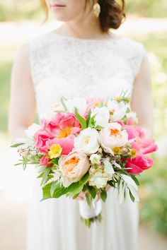 Mixed Peony & Rose Bouquet | Ivory Blush and Pink Flowers | Photography: Emily Scannell