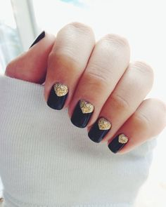 Black and Gold Nails #manicure