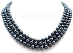 AAA Quality 16-18 Inch AugustinaJewelry Triple Strand Round 6.5-7mm Black Akoya SaltWater Cultured Pearl Necklace