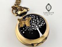 """Kettenuhr """"Schmetterlingsbaum""""  Silber oder Bronze"""