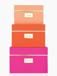 spring cleaning starts with storage boxes that turn extra stuff into an artful display, by kate spade new york (february 2014)