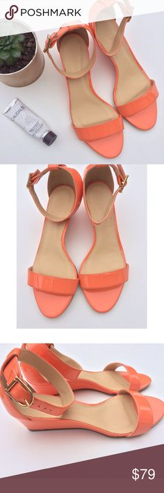NWOT J.Crew Lillian low wedge NWOT...J.Crew Lillian. Low wedge in dusty orange. 1 1/4 in high wedge. Patent  leather, adjustable ankle strap. Never worn. To be noted: slight wrinkle of leather insole on inside of left shoe. Has no effect whatsoever on shoe or wear. Just wanted to note. Perfect  otherwise.  Size 7 but would also fit 7.5 in my OPINION  NO OFFERSPRICE FIRMBUY IT NOW OPTION ONLYI ONLY TRADE FOR CASH J. Crew Shoes Sandals