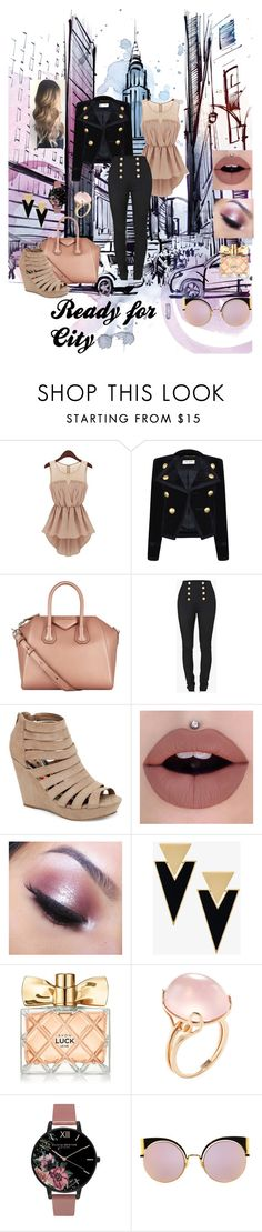 """Ready for City"" by selmazbanic ❤ liked on Polyvore featuring Yves Saint Laurent, Givenchy, Balmain, Madden Girl, Too Faced Cosmetics, Avon, Goshwara, Olivia Burton and Fendi"