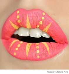 Pink matte lips with yellow details
