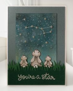 Card critters bunnies bunny looking at the Stars, Lawn Fawn grassy gras border, sentiment stamp from Lawn Fawn So Jelly: You´re a Star, distress inked background, tiny stars from MFT Bluprints tag-builder 6 Die-namics #mftstamps - JKE