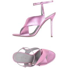 Sergio Rossi Sandals ($330) ❤ liked on Polyvore featuring shoes, sandals, light purple, spiked heel shoes, ankle tie shoes, ankle strap shoes, lavender sandals and ankle wrap sandals