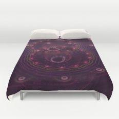 Bubbles in Dark Purple Duvet Cover
