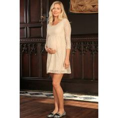 Beige Stretchy Lace Empire Half Sleeve Trendy Dress - Women Maternity. This empire waist maternity dress isfull of charm.Itsflowy silhouette is the epitome of romance and femininity. Made from the highest quality, super soft stretch fabric. Flatters different body types. Wear our cozy empire maternity dress just once and you'll never want to take it off.It's a great choicefor daytime looks. Prices are inclusive of all taxes.FREE USSHIPPING Designed and sewn by hand in Miami, FLThanks…