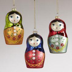These Ukrainian Matryoshka glass Christmas ornaments make me HAPPY! So so so so so so pretty! $22.47 at Cost Plus World Market.