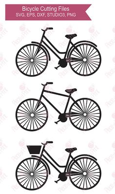 Bicycle SVGcut files STUDIO3 EPS DXF png cut files by pieceofprint
