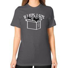 If I Fits, I Sits Unisex T-Shirt (on woman), Cats are shapeshifters and can fit in anything, It fits I sits. Take my box and you'll get bit, IfitfitsIsits, If I Fits, I Sits T-Shirt by Zacaca.Com. Men