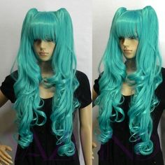 I found 'Vocaloid Hatsune Miku+curly cute Ponytails light blue girl party Cosplay WIG s2' on Wish, check it out!