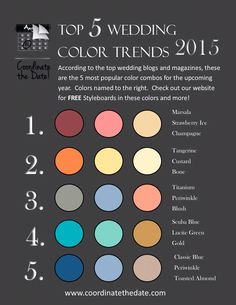 It's that time of year again...top five color combos for 2015... For your spring or summer wedding! www.coordinatethedate.com