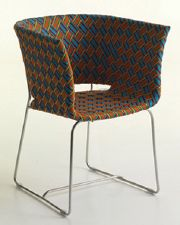 African print basket chair