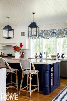 Antique styled kitchen island lights via New England Home