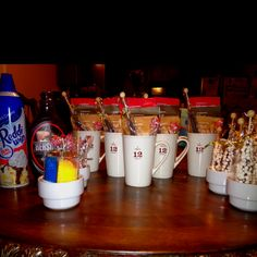 Birthday Party favors!  (sleep over party with hot cocoa bar consist of sugar crystals, marshmallow, chocolate stir sticks, peppermint stir sticks, whip cream and choco syrup).