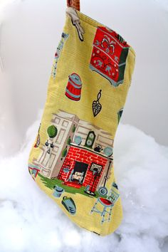 Retro Bark cloth Christmas stocking