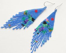 Items similar to Red moon rainbow reef on Etsy Seed Bead Earrings, Fringe Earrings, Beaded Earrings, Seed Beads, Beaded Jewelry, Crochet Earrings, Native American Earrings, Native American Beading, Minimalist Earrings