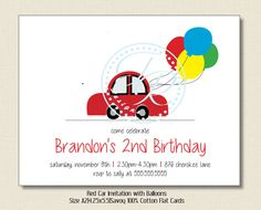 Birthday invitation boys red car balloons by TutuRevue on Etsy, $21.70