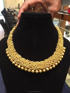 Gold Ball Necklace Design, Gold Clustered Ball Necklace Model.