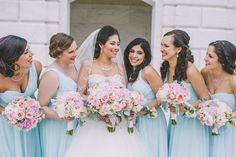 Love how vibrant and fun these mix-and-match mint chiffon bridesmaid dresses are! | Kennedy Blue | Amanda Dumouchelle Photography