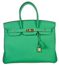 Hermes Birkin Bambou (Green) 35cm Togo Leather Handbag GHW NEW w/ Store Receipt #Hermes #Satchel