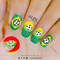 Fifa World Cup Nailart by Alpsnailart #nailart #nails #polish #mani - Share/explore more nail looks at bellashoot.com!