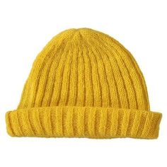 Mohair ribbed fisherman's beanie in yellow (4.165 RUB) ❤ liked on Polyvore featuring accessories, hats, slouch hat, yellow hat, ribbed hat, fisherman beanie and slouchy hat