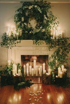 6 Tips to planning an Autumn wedding. Fireplace styled with candles and greenery. raffaeleciuca.com.au Raffaele Ciuca