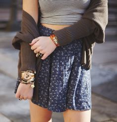 blue flower skirt with striped crop top , over with a cardigan @brandymelville