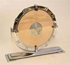 A Garrard-Le Coultre Art Deco chrome plated mantel timepiece 2