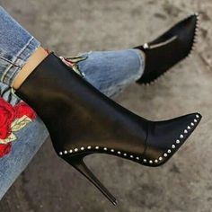 Black Elegant Womens Boots Ankle Short Super High Solid Vintage Boots Source by fashion boots Leather High Heels, High Heels Stilettos, High Heel Boots, Heeled Boots, Stiletto Heels, Shoe Boots, Shoes Heels, Leather Boots, Leather Rivets
