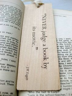The book is always better than the movie (from Books Rock My World) Creative Bookmarks, Bookmarks Kids, Wood Burning Crafts, Wood Burning Patterns, Leather Bookmark, Book Markers, Quotes And Notes, Book Week, Illustrations