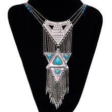 2016 moda colar de energia gargantilha Vintage Bohemian colar de pingente de borla de etnia cigana grande jóia maxi colar mulheres fine jewelry(China (Mainland))