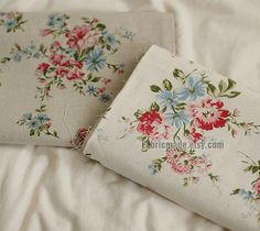 """Floral Fabric/ Ivory Beige Fabric with Peony flower/ Linen Cotton Curtain Cushion Fabric- 1/2 yard 18""""X55"""""""