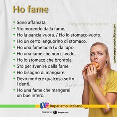 """""""Mi piace"""": 2.322, commenti: 22 - Impariamo l'italiano online (@impariamoitaliano) su Instagram: """"HO FAME! Alcune frasi usuali per esprimere che si ha fame. Aggiungi altre frasi in commento!…"""" Italian Language, Instagram"""