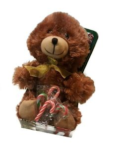 Small Stuffed Teddy Bears Soft Plush Animal Toy Keepsake Tin Can Mini Candy Cane #FuzzyFriends #Christmas