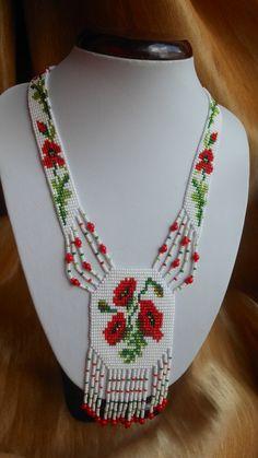 Traditional Ukrainian necklace Gerdan Ukrainian  Poppies