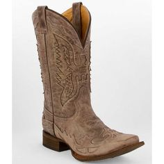 Corral Wing Inlay Cowboy Boot - Brown US 9 ($142) ❤ liked on Polyvore featuring men's fashion, men's shoes, men's boots, brown, mens leather boots, men's red wing boots, mens square toe western boots, mens leather cowboy boots and mens square toe cowboy boots