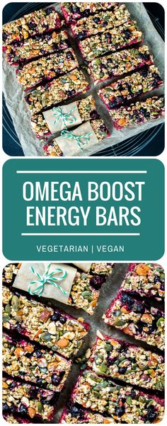 These stunning Omega Boost Beetroot & Blackcurrant Energy Bars give you a proper boost of vitamins, minerals and omega oils to power you through the day! Perfect for vegetarians or vegans. Pin this clean eating snack recipe to try later.