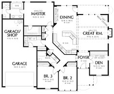 Floor Plans AFLFPW01586 - 1 Story Cottage Home with 3 Bedrooms, 2 Bathrooms and 2,001 total Square Feet