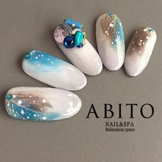 Feather watercolor nails with stones