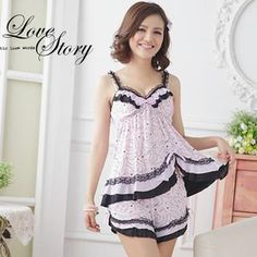 Sweet Princess - Pajama Set: Lace-Trim Heart-Print Top + Shorts