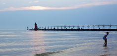 Dusk in South Haven on lake Michigan