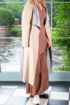 We love this season's trend, pairing maxi dressed with slouchy coats and casual trainers. Casual Trainers, Woven Fabric, Duster Coat, Coats, Fashion Outfits, Clothes, Shopping, Beauty, Dresses