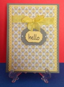 Never Grow Up from Twirly Girly by Chickaniddy in gray and yellow. Bright yellow bow and hello stamp.