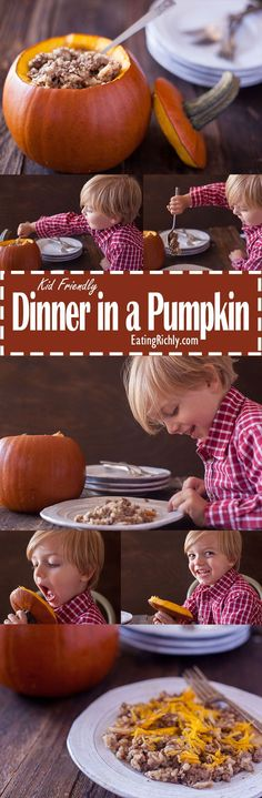 This ground beef dinner in a pumpkin is is not only easy to make, it's also a kid friendly dinner that will have your little ones begging for more! Perfect for Halloween or Thanksgiving entertaining as well. From EatingRichly.com